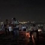 Die Band am Heli-Pad